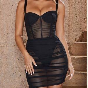 Oh Polly sheer mesh underworld dress black
